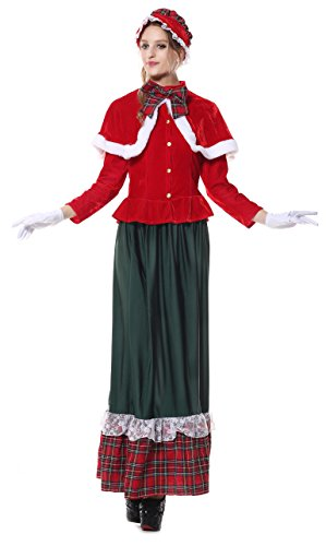 Killreal Women's Vintage Victorian Yuletide Lady Caroler Costume Green-Red Medium (Plus Size Victorian Costumes)
