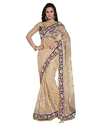 Lakshat Fashion Net Embroidered Saree (3409_Light Beige)