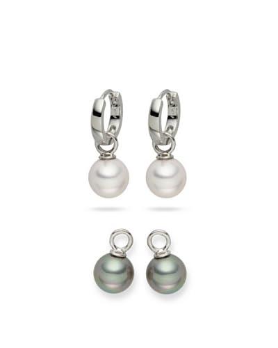 Nova Pearls Copenhagen Set de pendientes  Blanco / Gris