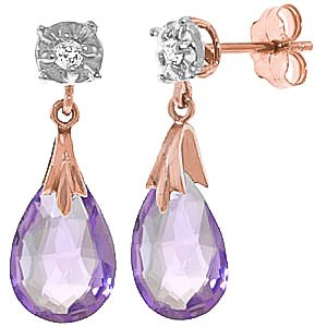 QP Jewellers Natural Diamond & Amethyst Stud Earrings in 9ct Rose Gold, 6.0ct - 3852R