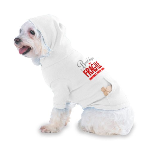 Book keepers are FRAGILE handle with care Hooded (Hoody) T-Shirt with pocket for your Dog or Cat LARGE White