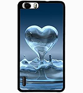 ColourCraft Water Heart Design Back Case Cover for HUAWEI HONOR 6 PLUS