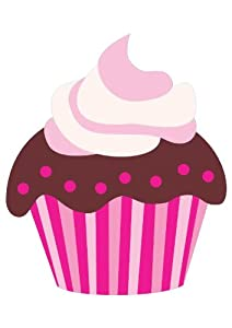 Cup Wall Decals Cute Pink Cartoon Chocolate Cupcake - 12 inches x 8 inches - Peel and Stick Removable Graphic