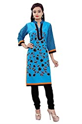 MSONS Women's Blue Bales Embroidered Collar Neck Long Cotton Kurti
