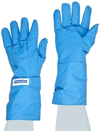 "National Safety Apparel G99CRBERLGMA Nylon Taslan and PTFE Mid-Arm Standard Water Resistant Safety Glove, Cryogenic, 14"" - 15"" Length,Blue"