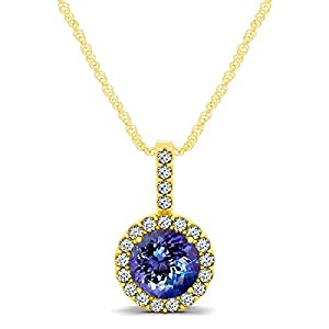 14kt White Gold Tanzanite and Diamond Halo Pendant 0.80ct TW