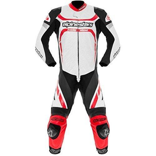 Alpinestars Motegi Men's 1-Piece Leather On-Road Racing Motorcycle Race Suits - Black/White / Size 54