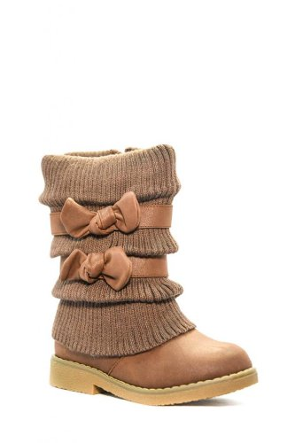Dream Pairs Kluv Girls Knit Sweater Winter Fur Boots Kids Brown