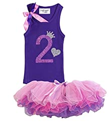 Baby Girls 2nd Birthday Toddler Pink Purple Tutu Tank Top Shirt Set By Bubblegum Divas