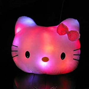GNG LED Pink Hello Kitty Head Shaped Light up Pillow Color Changing Cushion Night Light