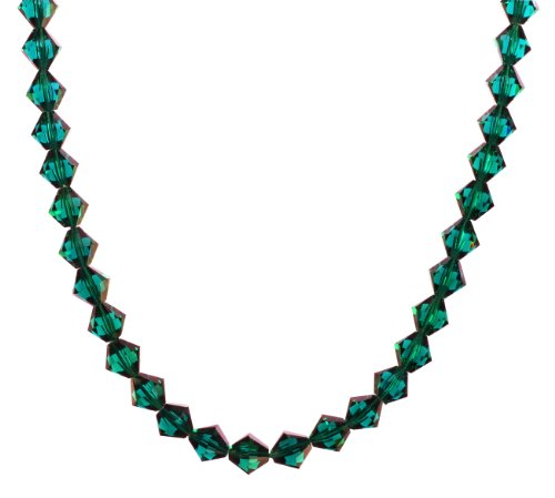 Sterling Silver Swarovski Elements Emerald Colored 8mm Beaded Necklace, 20