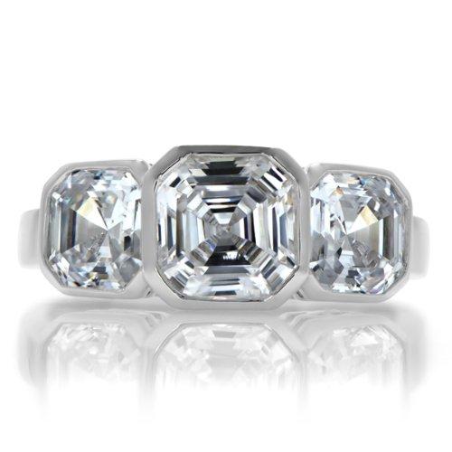 Dorisha's Three Stone Asscher Inspired CZ Ring