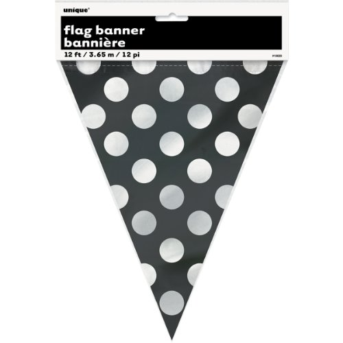 Black Polka Dot Flag Banner, 12-Foot