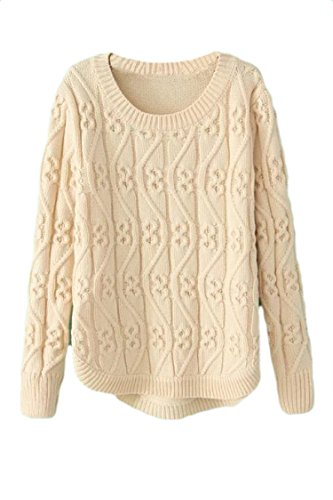 Pink Wind Womens Chunky Pullover Knitwear Twisted Braid Sweaters