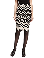 M&S Collection Knitted Chevron Pencil Skirt