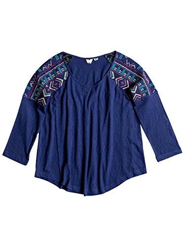 Roxy Why Tell Me Blue Print-Maglietta a maniche corte da donna, taglia: XS (taglia del produttore: XS)