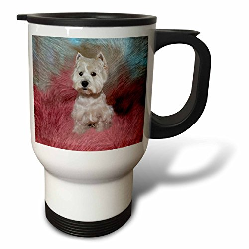 3dRose Westie Travel Mug, 14-Ounce, Stainless Steel