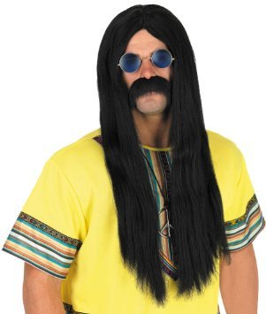 Black Hippy Wig And Round Orange Teashades Sunglasses