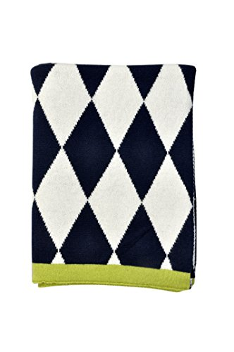 DARZZI Diamonds Baby Blanket, Navy/Natural