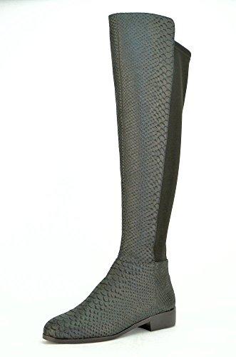 Michael Kors Bromley Flat Boot Donna Nero Pelle Stivali Scarpe Display