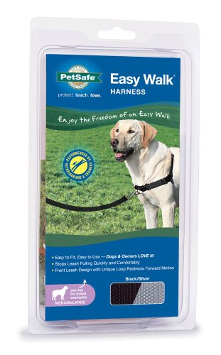 PetSafe Easy Walk Dog Harness, Medium/Large, Black/Silver