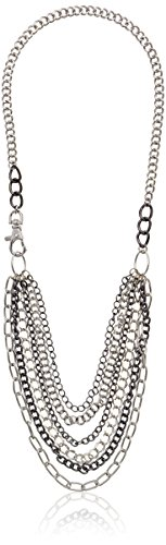 """Hematite And Silver Tone Six Row Layered Mixed Swag Chain Necklace, 30"""""""