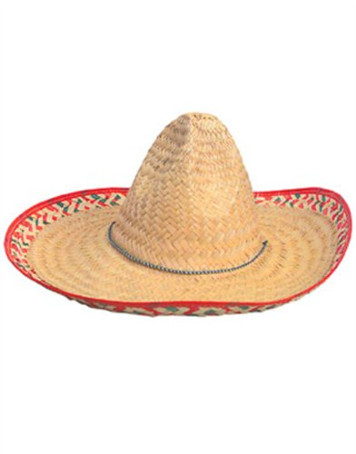 "19"" Adult Mexican Costume Sombrero Hat With Red Trim"