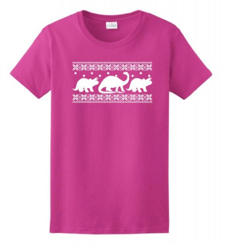 Dinosaur Pattern Faux Ugly Christmas Sweater Ladies T-Shirt Large Heliconia