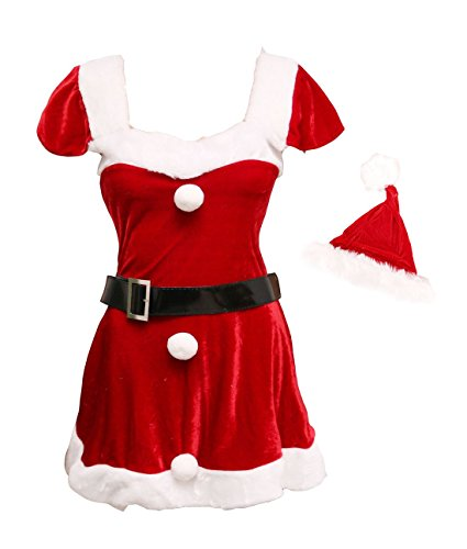 Bslingerie Red Christmas Santa Girl Women Costume Dress