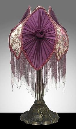 Victorian Style Tulip Beaded Table Desk Lamp Purple