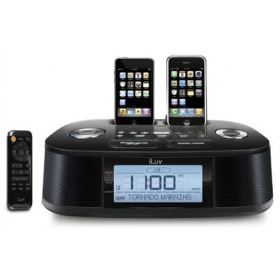iLuv iMM183BLK Black Hi-Fi Dual Alarm Clock Radio with NOAA/S.A.M.E. Weather Hazard Alert from iLuv