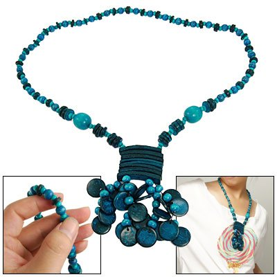 Rosallini Blue Disc Beads Rectangle Accent Coconut Shell Necklace