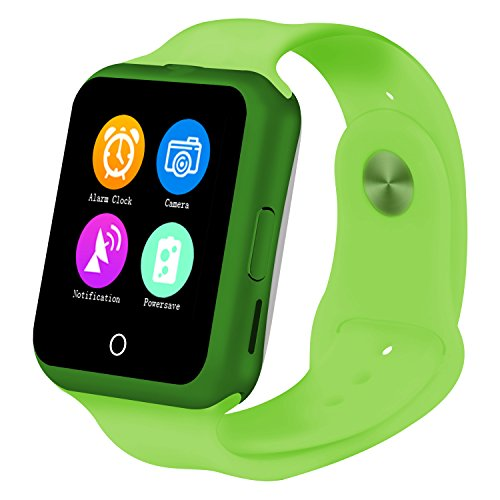 Stylish Bluetooth Camera SmartWatch, With Heart Rate monitor / Noise Reduction / Sleep monitor / Pedometor / Automatic Wake-up Functions for Samsung Android Smartphones, Green