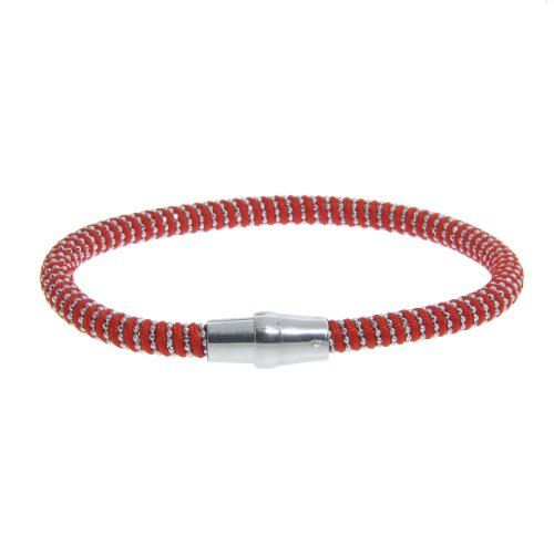 Italian Sterling Silver Diamond Cut Bead on Red Silk Cord with Magnet Lock, 7.5
