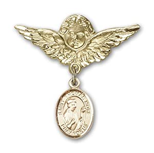 14K Gold Baby Badge with St. Thomas More Charm and Angel with Wings Badge Pin