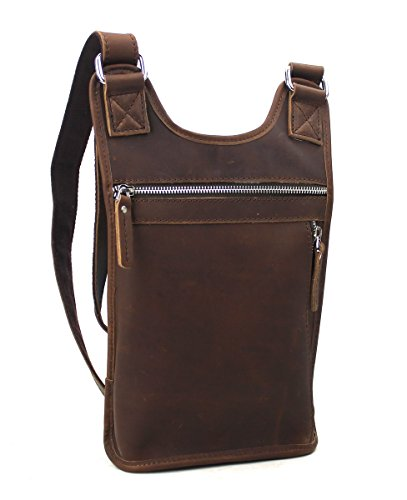 Oil Tanned Cowhide Leather Pouch Sling Slim Bag L83. Dark Reddish