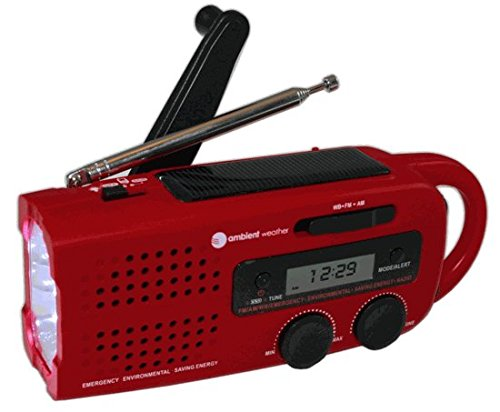 Ambient Weather WR-299 Compact Emergency Solar Hand Crank Weather Alert Radio