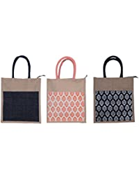ABV Jute Lunch Bag, Pack Of 3 Jute Bag Black And Designer Printed Bag