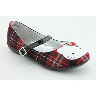 Hello Kitty Gianna Plaid Youth Kids Girls Size 1 Black Fabric Flats Shoes