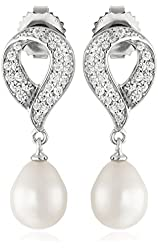 AuraPearl Sterling Silver 8-9mm White Oval Freshwater Cultured Pearl and Swarovski Zirconia Drop Earrings