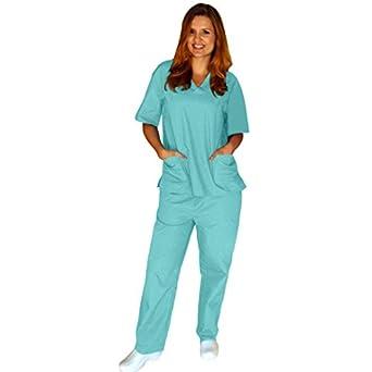 Natural Uniforms - Women's Scrub Set (Assorted Colors, XS-3X) Medical Scrub Top and Pant, Aqua 31007-X-Small