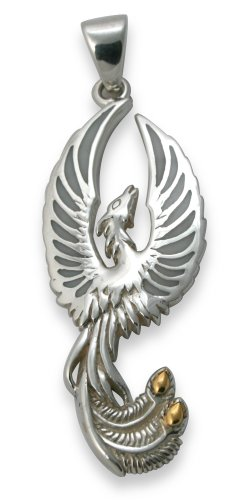 Sterling Silver Phoenix Pendant With Mother Of Pearl Inlay