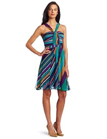 Nine West Women's Twin Stripe Chiffon Dress, Ultra Green Combo, 4