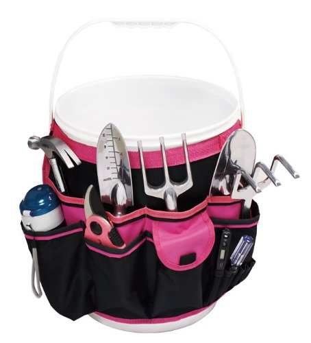 Apollo Precision Tools DT0825P 5-Gallon Bucket Garden Tool Organizer, Black/Pink