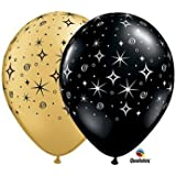 Sparkle Around Gold & Black 11-Inch Latex Balloons, Qualatex 25 Per Pack