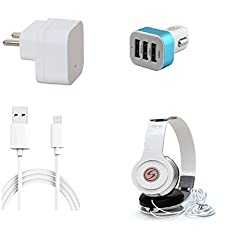 13Tech 1 Amp Charger+3 mtr Copper (Data Transfer+Charging) Cable +VM46 Headphones+3 Jack Car Charger for Intex Trend