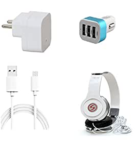 13Tech 1 Amp Charger+3 mtr Copper (Data Transfer+Charging) Cable +VM46 Headphones+3 Jack Car Charger for Lava X3