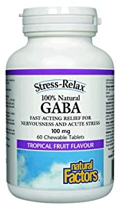 Natural Factors Stress-Relax Pharma Gaba Chewable Tablets, 60-Count