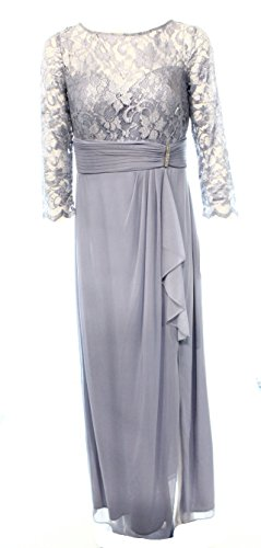 Patra Ice Metallic Lace Women's Empire Waist Evening Gown Blue 12