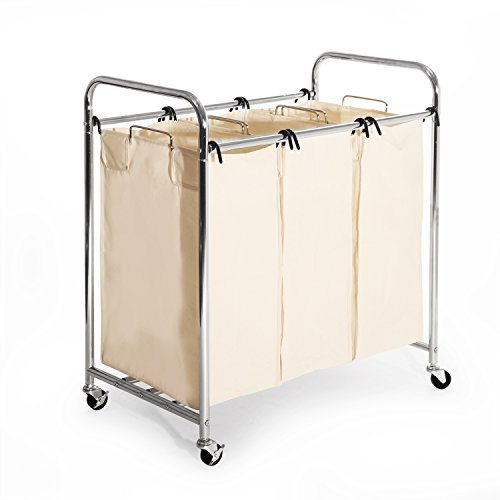 Seville Classics Heavy-Duty 3-Bag Laundry Sorter Cart